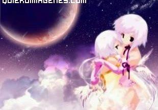 Angelitos estilo manga sobre las nubes imágenes