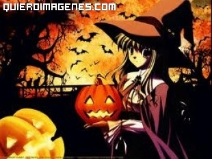 Bruja de manga en la noche de Halloween imágenes