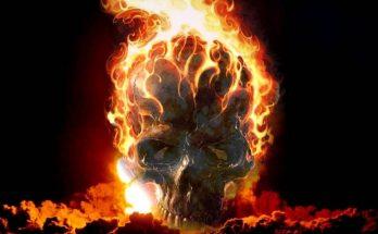 Calavera en llamas imágenes