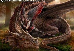 Dragón y guerrera imágenes