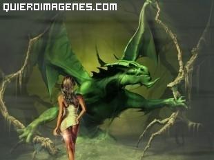 Dragón contra mujer imágenes