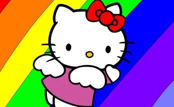 Hello Kitty volando sobre el arco-iris imágenes