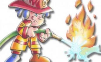 Bombero apagando el fuego imágenes