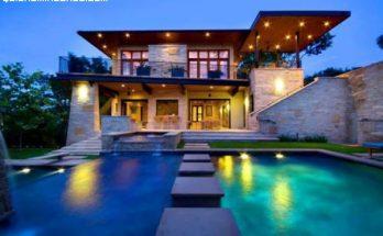 Casa de piedra con piscinas imágenes