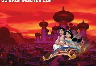 Aladin y Jasmien en la alfombra voladora imágenes