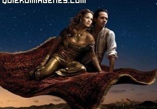Jennifer López y Marc Anthony volando en alfombra mágica imágenes