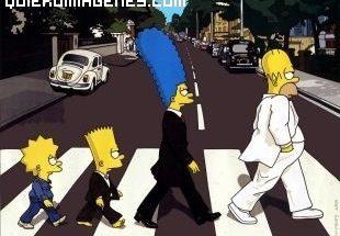 Familia Simpson cruzando la calle imágenes