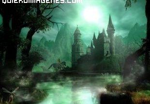 Mágico paisaje de castillo encantado de cuento imágenes