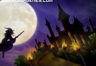 Bruja volando en la noche de Halloween imágenes