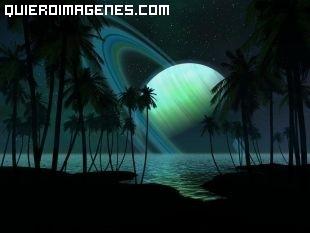 Saturno en un playa paradisíaca imágenes