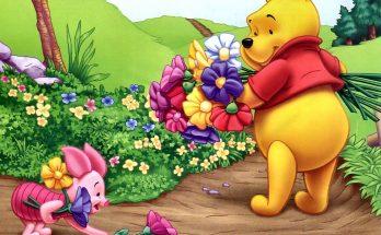 Winnie The Pooh recogiendo flores imágenes