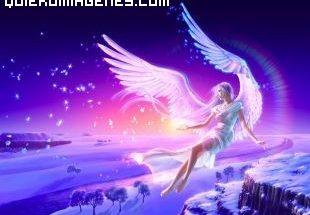 Mujer angel sobre paisaje invernal imágenes