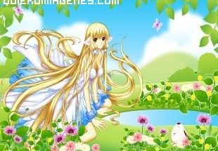 Chica manga en el jardín imágenes