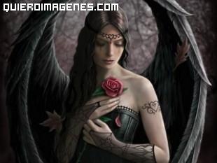 Angel apenado con rosa en el pecho imágenes
