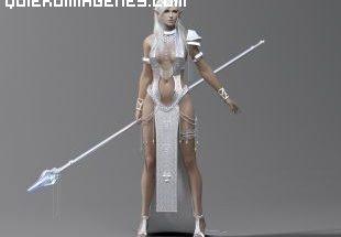 Bella guerrera elfa con lanza imágenes