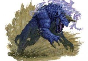 Criatura azul al galope imágenes